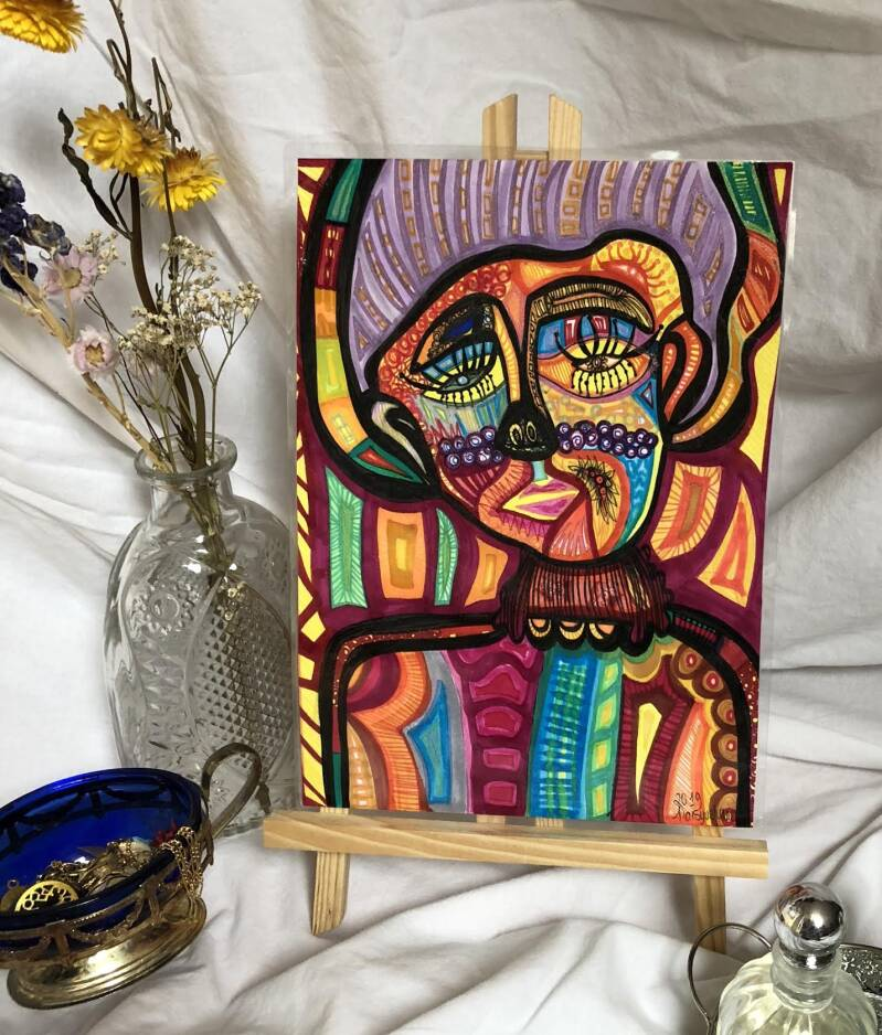 LIVING A COLORFUL LIFE ORIGINAL DRAWING