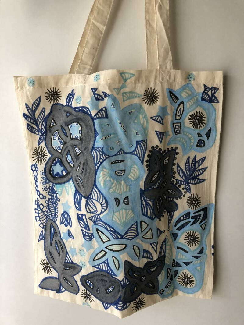 Blooming flower tote bag.