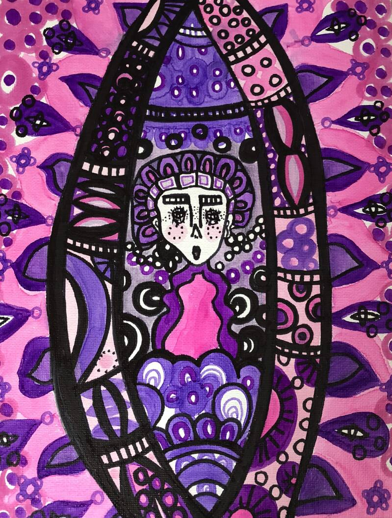 Pink lucid dreaming canvas painting