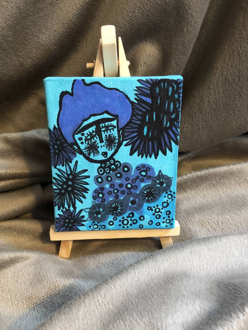 WOMAN IN BLUE MINI CANVAS