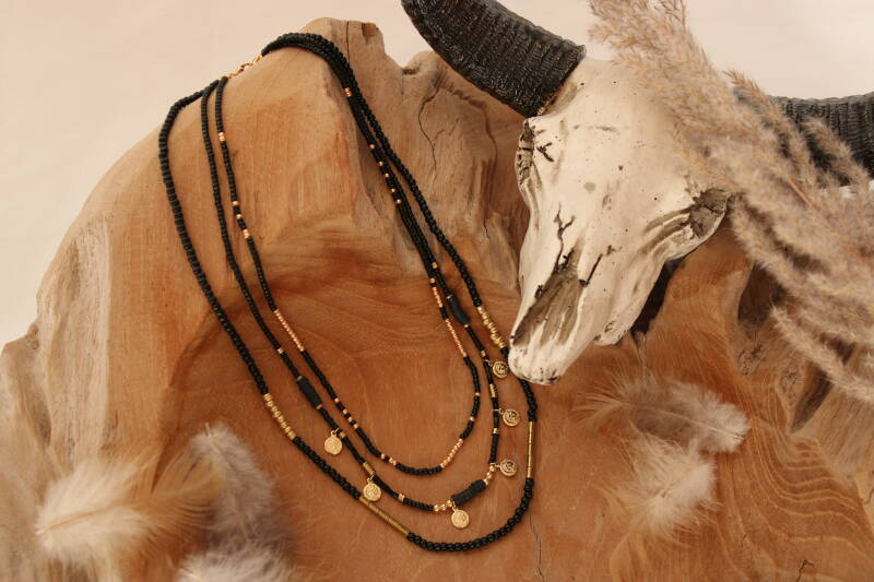 Beads necklace gold/black