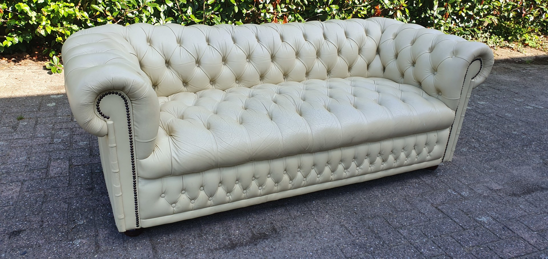 Creme Leren Bankstel.Orginele Creme Lederen Chesterfield Button Seat 3zits Bank