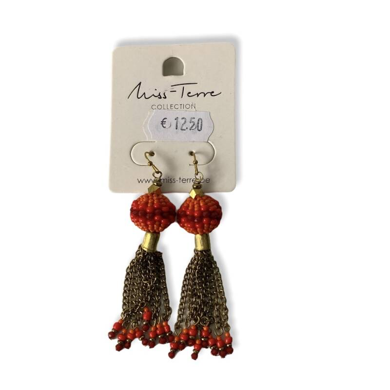 Paar oorbellen - Miss-Terre collection Gold / red 9 cm
