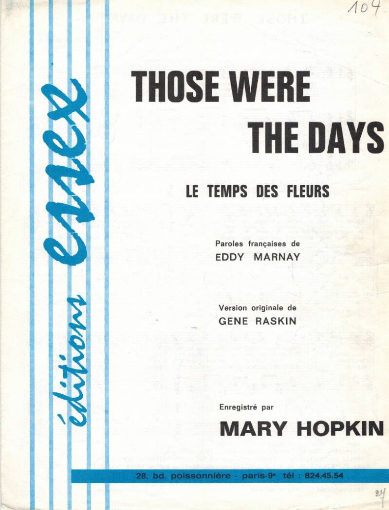 Partituur - Mary Hopkin - Those were the days