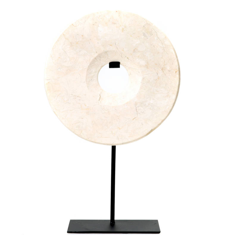 Ornament Marble Disc   White
