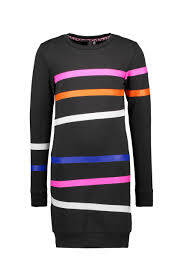 B.Nosy - Jurk Black/Rainbow Stripes