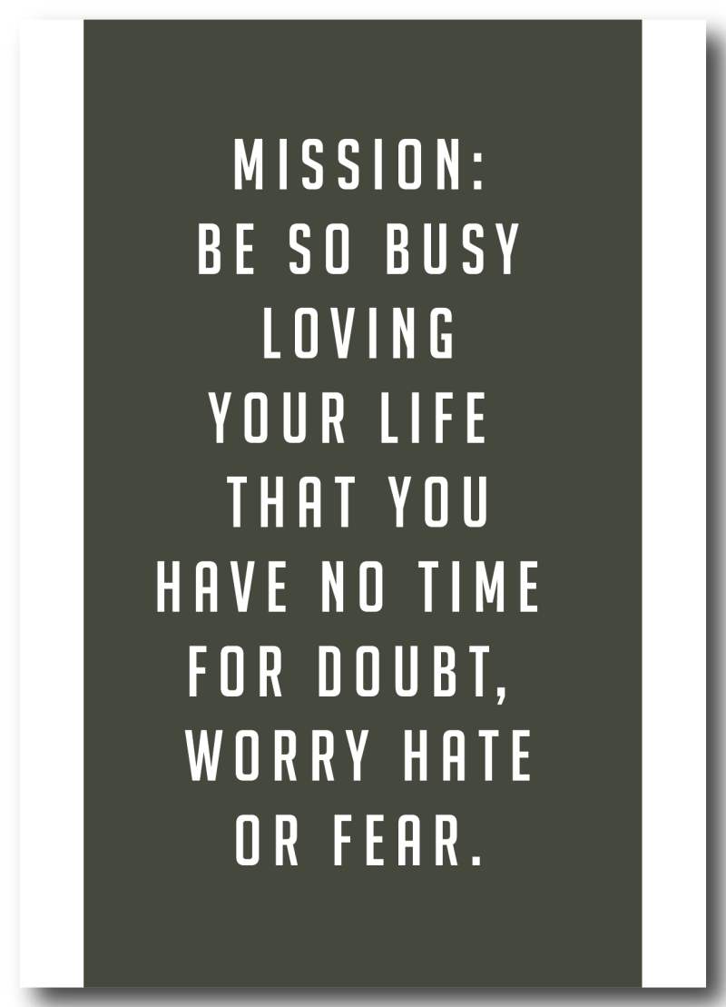 WS Q-4 : Mission : Be so busy loving you life, that you have no time for doubt, worry, hate or fear