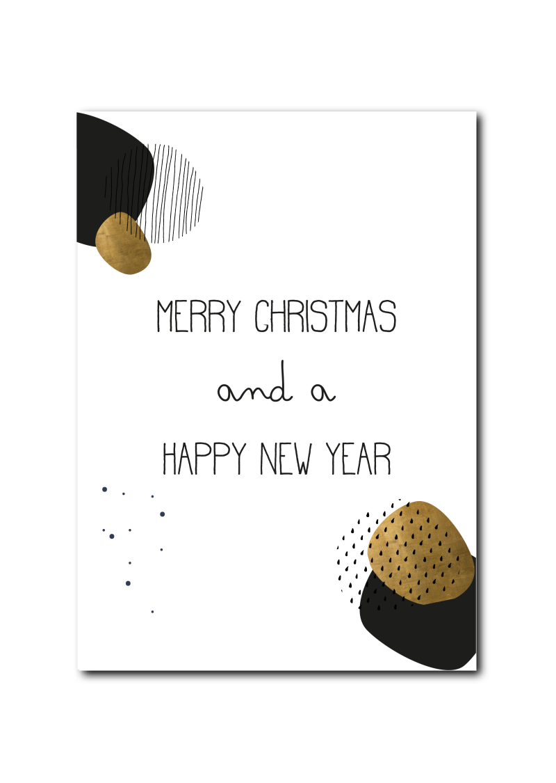 SALE : Merry Christmas and a happy new year zwart goud