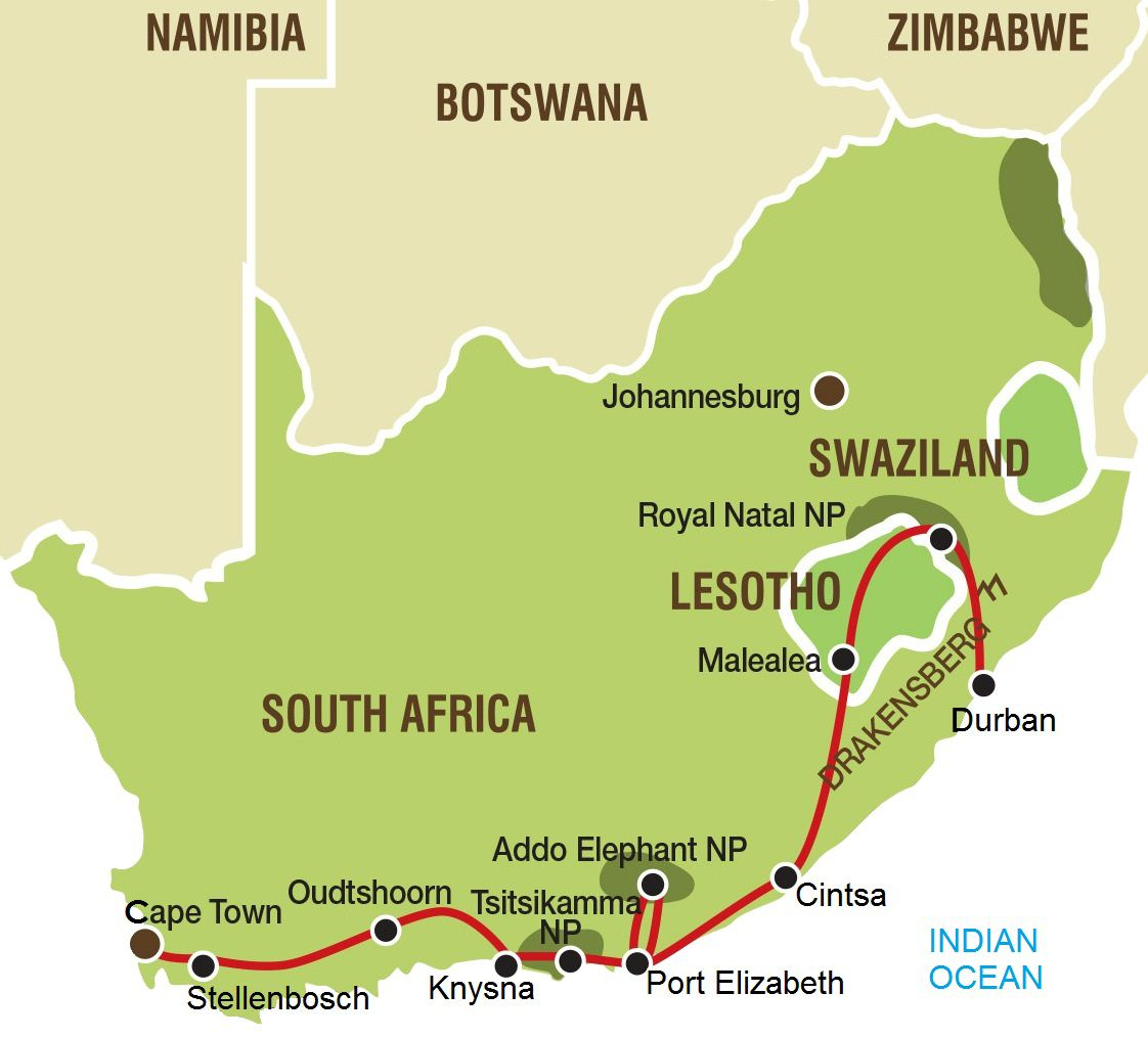 Garden Route And Lesotho Tour L Cape Town To Durban