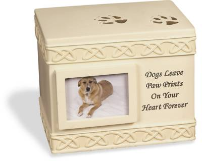 Box Urn - Dog Paw Prints with Small Photo Frame    s49555