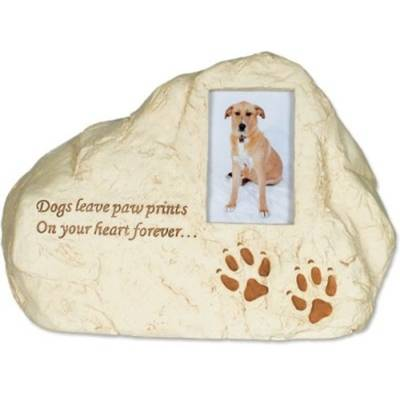 Rock Pet Urn - Dog Paw Prints with Small Photo Frame    s49558