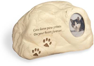 Rock Urn - Cat Paw Prints with Small Photo Frame    s49508