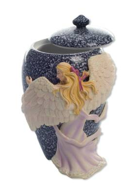 Hand Painted Angel's Embrace Small Urn    s45460
