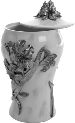 Pewter Crematie Urn - Lily Marble Effect Finish    s45324