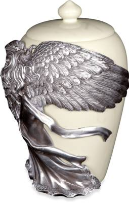 Pewter Urn - Angels Embrace Maat Medium    s45320