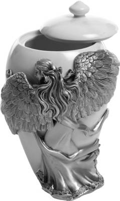 Pewter Urn - Angels Embrace Maat Small (5 inch / 12,5 cm)    s45420