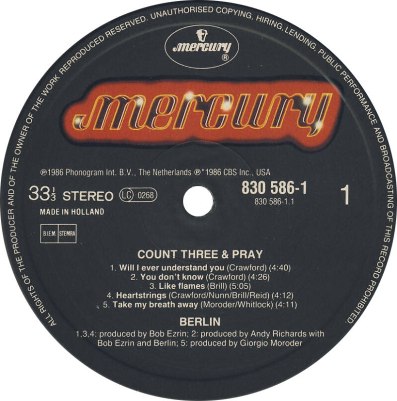 Berlin - Count Three And Play [Holland] - LP