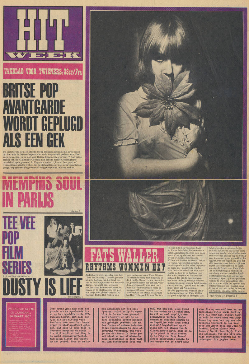 Pink Floyd - Hitweek, Volume 2, Issue 28 - March 30, 1967 [Holland] - Magazine