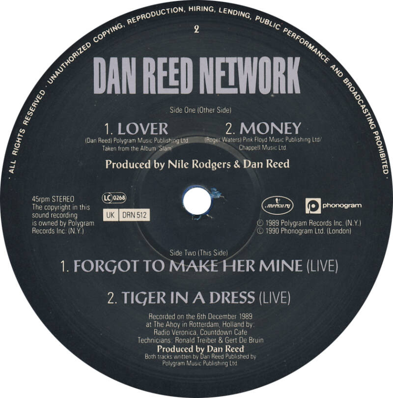 Dan Reed Network - Lover/Money [UK, blue vinyl] - 12""