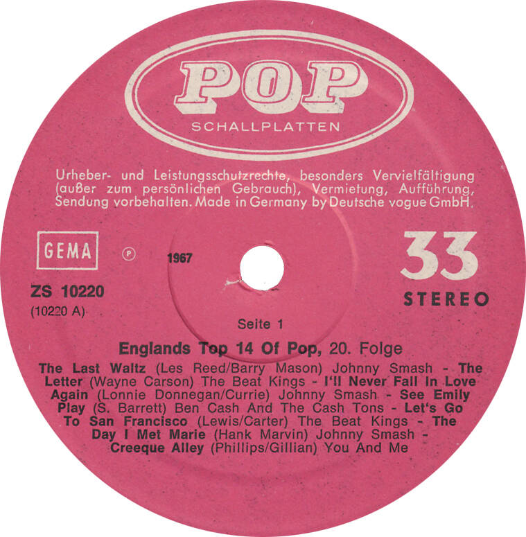 Various - England's Top 14 Of Pop [Germany] - LP