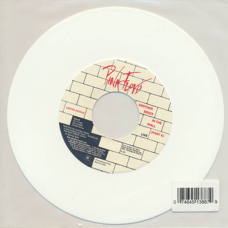 """Pink Floyd - Another Brick In The Wall Part 2 [USA, promo, white vinyl] - 7"""""""