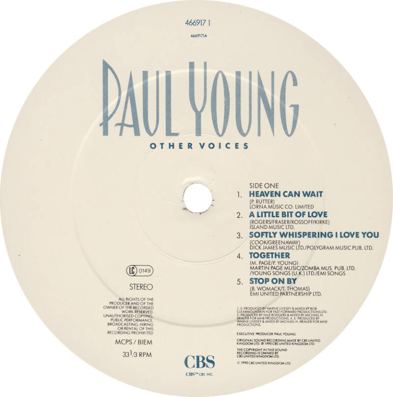 Paul Young ft David Gilmour - Other Voices [UK] - LP