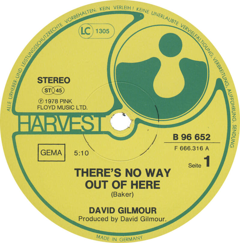 """David Gilmour - There's No Way Out Of Here [Germany, promo] - 12"""""""