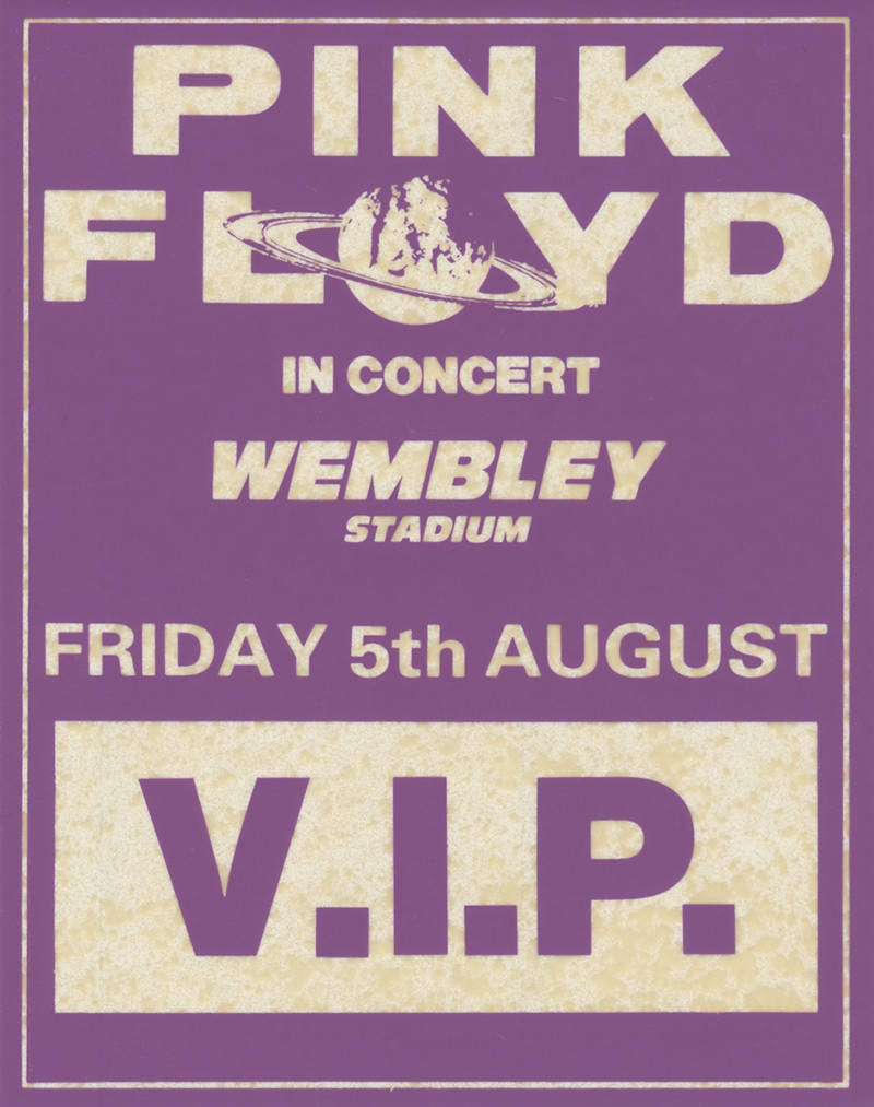 Pink Floyd - Wembley Stadium 5th August 1988 - Backstage Pass