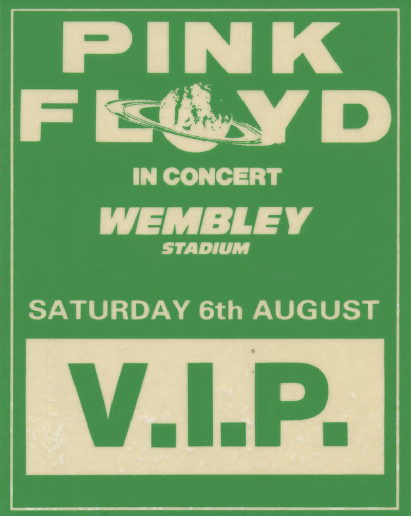 Pink Floyd - Wembley Stadium 6th August 1988 - Backstage Pass