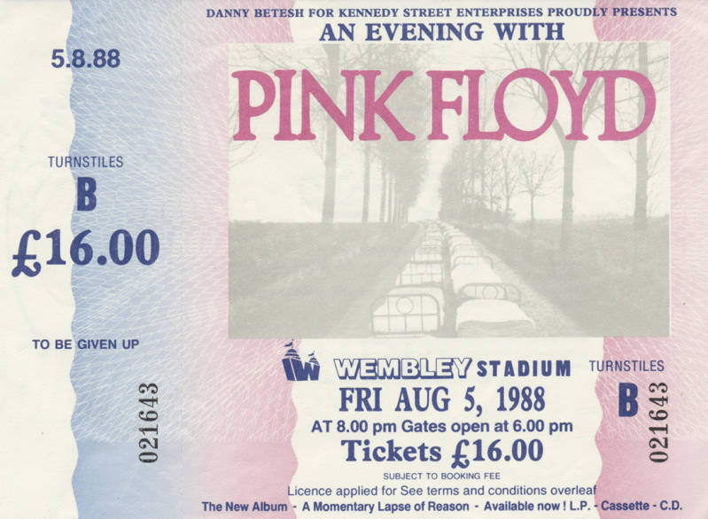 Pink Floyd - Wembley Stadium August 5, 1988 [ticket]