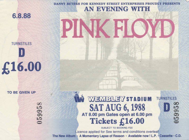 Pink Floyd - Wembley Stadium August 6, 1988 - Ticket Stub