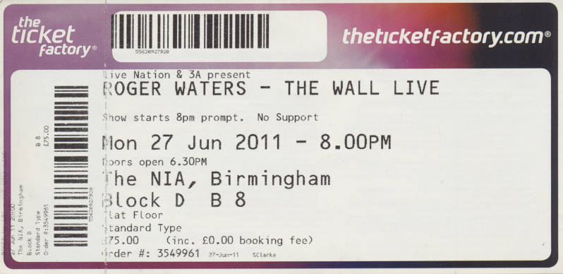 Roger Waters - The Wall Live - The NIA, Birmingham, June 27, 2011 - Ticket Stub