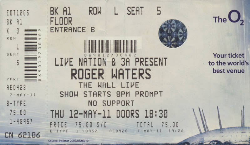 Roger Waters - The Wall Live - O2 Arena, London, May 12, 2011 - Ticket Stub