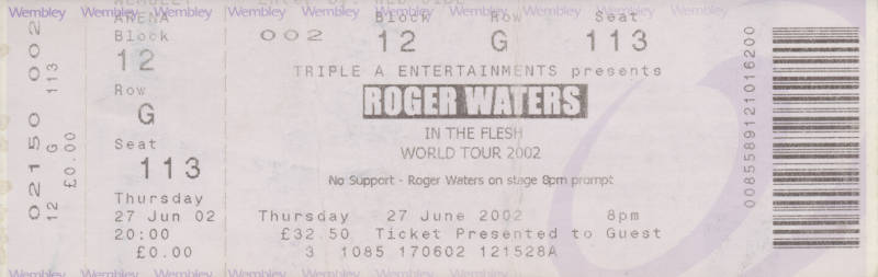 Roger Waters - Wembley Arena, June 27, 2002 - Ticket Stub