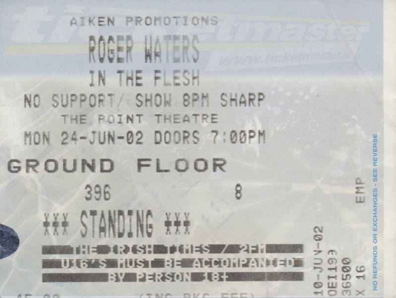Roger Waters - The Point Theatre, Dublin, June 24, 2002 - Ticket Stub