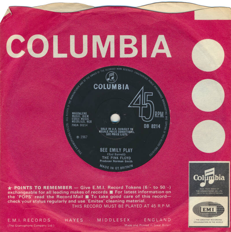 """Pink Floyd - See Emily Play [UK, large lettering, solid centre] - 7"""""""