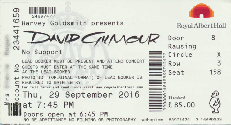 David Gilmour - Royal Albert Hall, September 29, 2016 - Ticket Stub