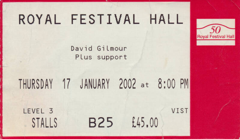 David Gilmour - Royal Festival Hall, January 17, 2002 - Ticket Stub