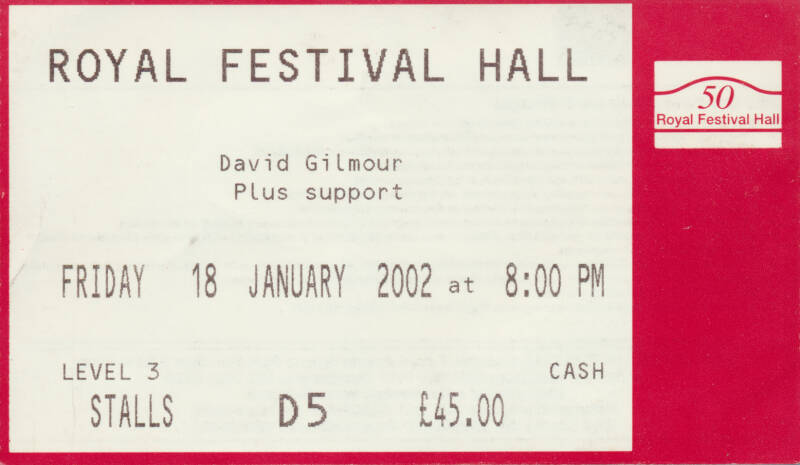 David Gilmour - Royal Festival Hall, January 18, 2002 - Ticket Stub