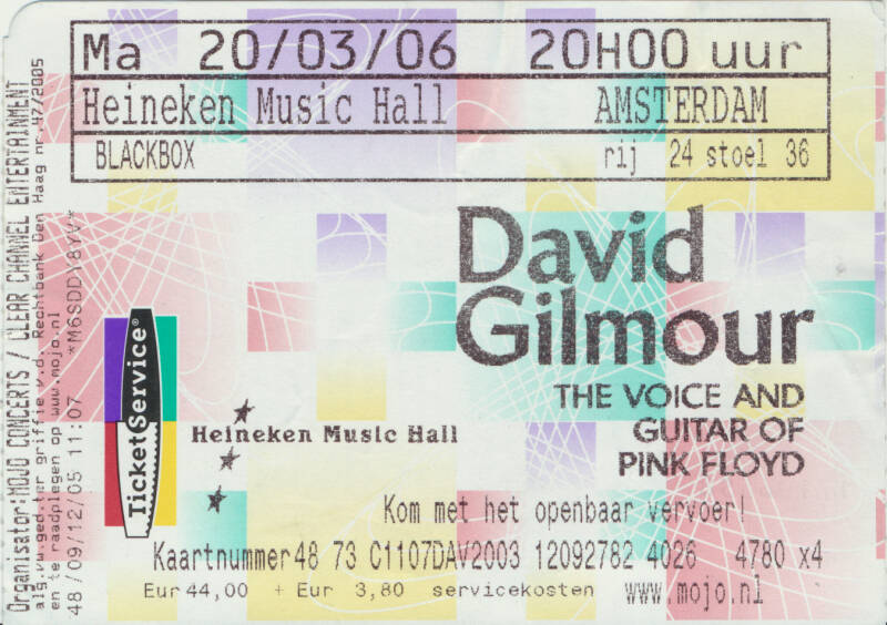 David Gilmour - Heineken Music Hall, Amsterdam, March 20, 2006 - Ticket Stub