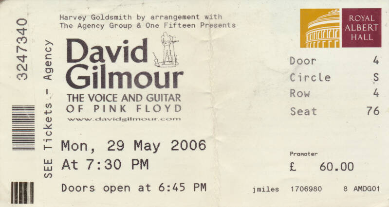 David Gilmour - Royal Albert Hall, May 29, 2006 - Ticket Stub