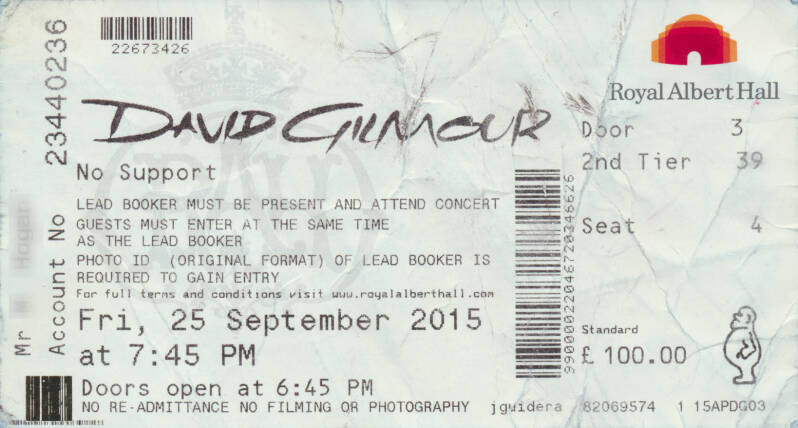 David Gilmour - Royal Albert Hall, September 25, 2015 - Ticket Stub