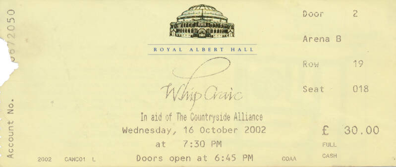 Roger Waters - Whip Craig, Royal Albert Hall, October 16, 2002 - Ticket Stub