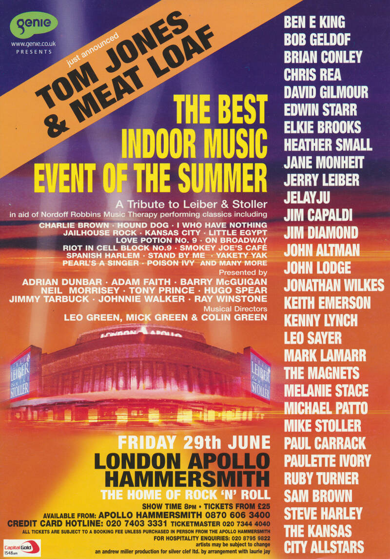 David Gilmour (and others) - A Tribute To Leiber & Stoller, Hammersmith Apollo, June 29, 2001 [UK] - Handbill