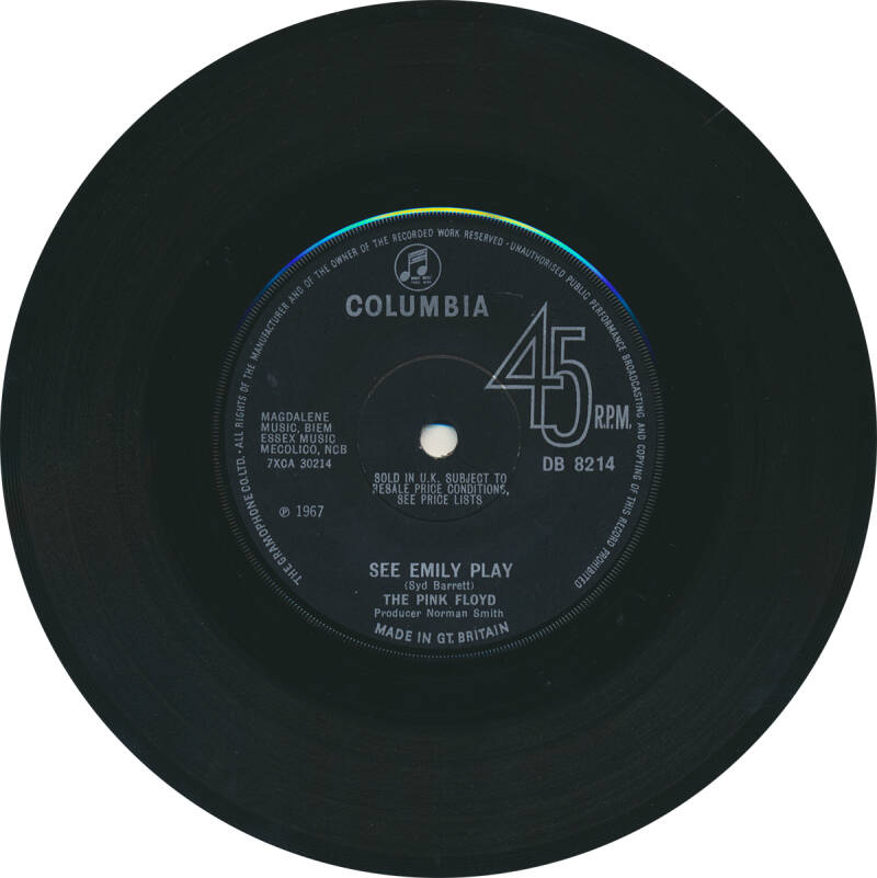 Pink Floyd - See Emily Play [UK, small lettering, solid centre] - 7""