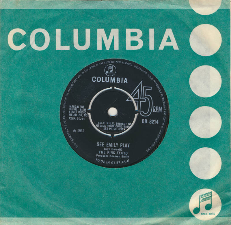 """Pink Floyd - See Emily Play [UK, transitional, press-out centre] - 7"""""""