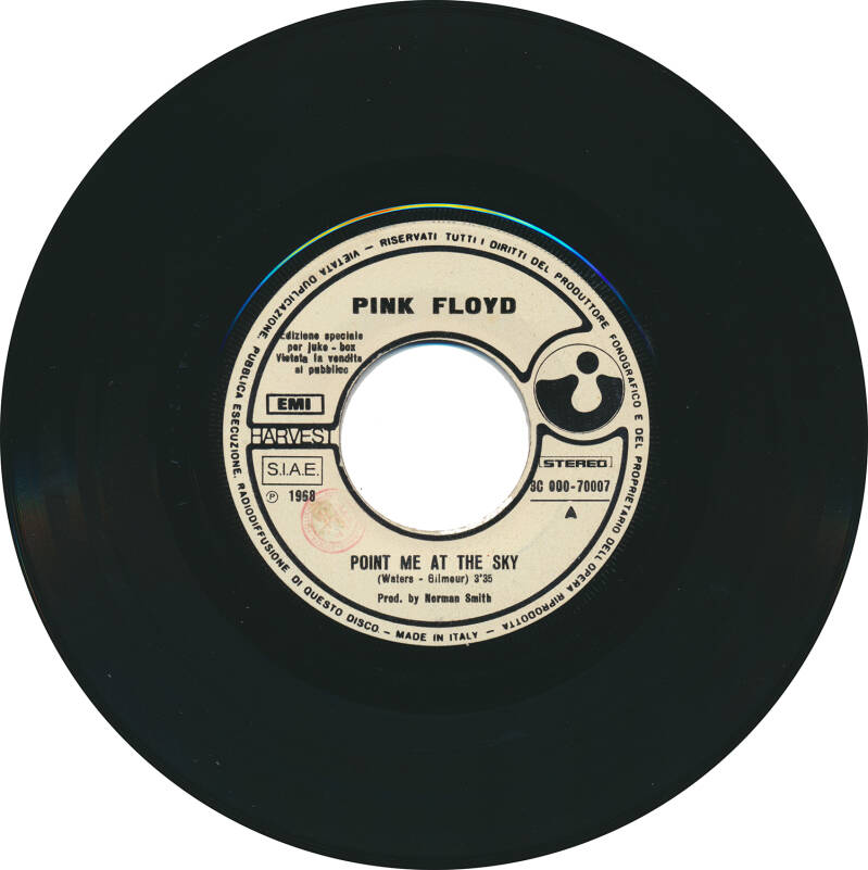 """Pink Floyd - Point Me At The Sky [Italy, promo] - 7"""""""