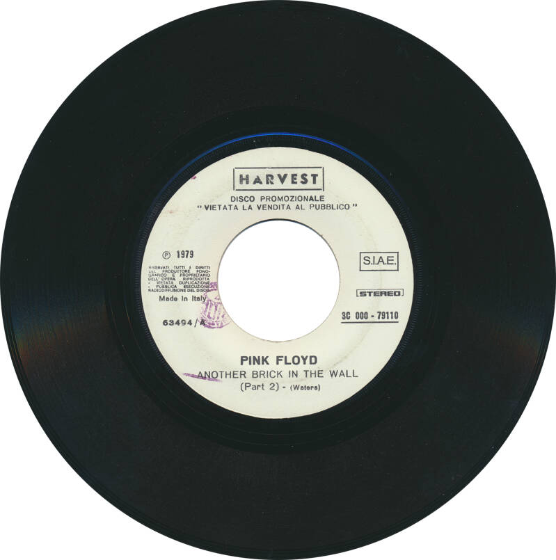 """Pink Floyd - Another Brick In The Wall Part 2 [Italy, promo] - 7"""""""