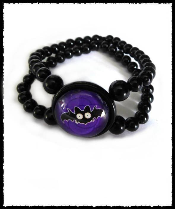 Bracelet small Batty purple rose