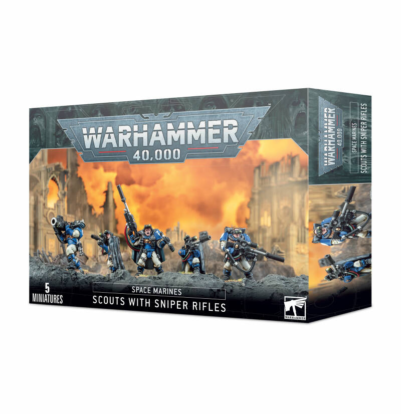 Warhammer 40K - Space Marines - Scouts with Sniper Rifles (48-29)